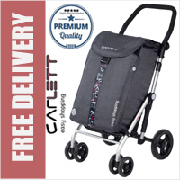 Carlett Lett470 Deluxe XL Capacity CONVERTIBLE Folding 6 Wheel Swivel Shopping Trolley with Park Brake Textured Grey