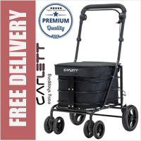 Carlett Lett700 Deluxe Walk & Rest Folding 6 Wheel Swivel Shopping Trolley with Seat Park Brake and Safety Brake Black