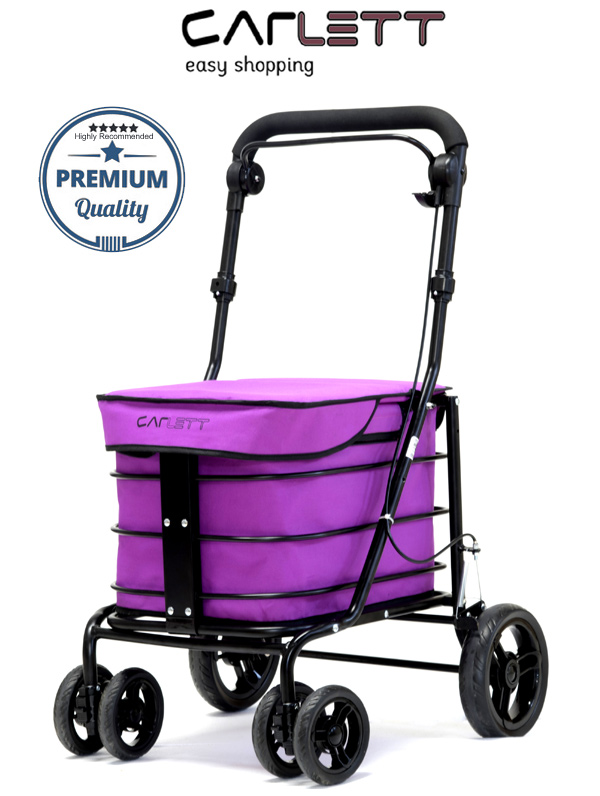 Carlett Lett700 Deluxe Walk & Rest Folding 6 Wheel Swivel Shopping Trolley with Seat Park Brake and Safety Brake Blueberry Pink