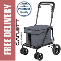 Carlett Lett700 Deluxe Walk & Rest Folding 6 Wheel Swivel Shopping Trolley with Seat Park Brake and Safety Brake Textured Grey