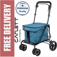 Carlett Lett700 Deluxe Walk & Rest Folding 6 Wheel Swivel Shopping Trolley with Seat Park Brake and Safety Brake Textured Turquoise