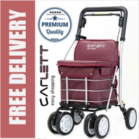 Carlett Lett800 Deluxe Walk & Rest Folding 6 Wheel Swivel Shopping Trolley with Seat Backrest Park Brake and Safety Brake Garnett Red