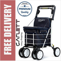 Carlett Lett800 Deluxe Walk & Rest Folding 6 Wheel Swivel Shopping Trolley with Seat Backrest Park Brake and Safety Brake Navy Blue