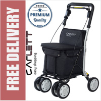 Carlett Lett800 Deluxe Walk & Rest Folding 6 Wheel Swivel Shopping Trolley with Seat Backrest Park Brake and Safety Brake Textured Black