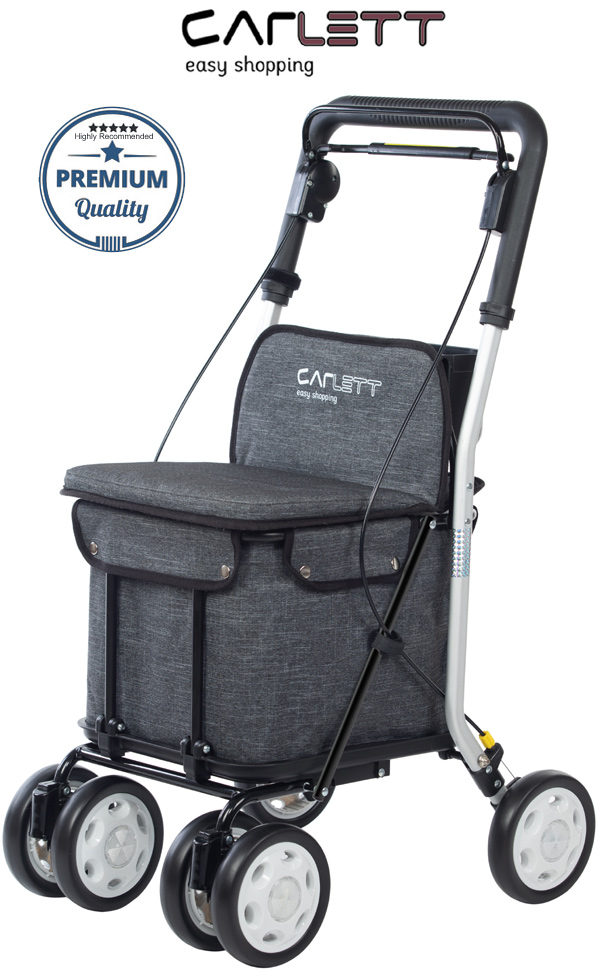 Carlett Lett800 Deluxe Walk & Rest Folding 6 Wheel Swivel Shopping Trolley with Seat Backrest Park Brake and Safety Brake Textured Grey