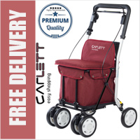 Carlett Lett800 Deluxe Walk & Rest Folding 6 Wheel Swivel Shopping Trolley with Seat Backrest Park Brake and Safety Brake Textured Red