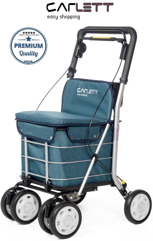 Carlett Lett800 Deluxe Walk & Rest Folding 6 Wheel Swivel Shopping Trolley with Seat Backrest Park Brake and Safety Brake Textured Turquoise