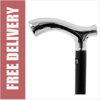 Chrome plated Derby/Escort Walking Stick - Black Shaft
