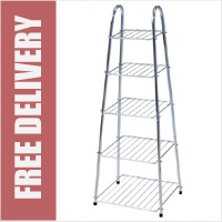Chrome 5 Tier Pan Trolley Storage Rack Stand