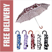 Compact Animal Print Umbrella with Crook Handle