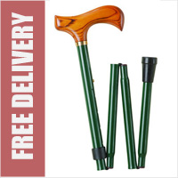 Deluxe Adjustable Green Shaft / Wood Handle 4 Section Folding Walking Stick