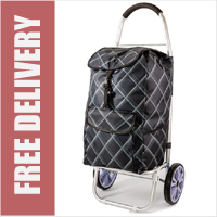 La Rochelle Deluxe 2 Wheel Shopping Trolley with Front and Side Pockets and XL Wheels Black/Grey Stripe