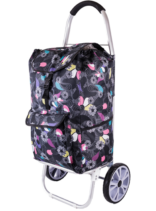 La Rochelle Deluxe 2 Wheel Shopping Trolley with Front and Side Pockets and XL Wheels Black Floral Print