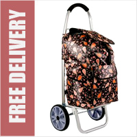 La Rochelle Deluxe 2 Wheel Shopping Trolley with Front and Side Pockets and XL Wheels Black with Red Paisley Print