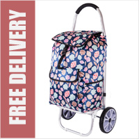 La Rochelle Deluxe 2 Wheel Shopping Trolley with Front and Side Pockets and XL Wheels Blue Leaf Print