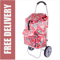 La Rochelle Deluxe 2 Wheel Shopping Trolley with Front and Side Pockets and XL Wheels Red/Pink Floral Print