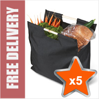 5 x Deluxe Reusable Shopping Bags with Wooden Handles