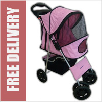 Deluxe 4 Wheel Pet Stroller Blossom Pink