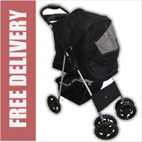 Deluxe 4 Wheel Pet Stroller Jet Black