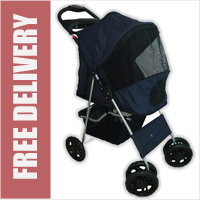 Deluxe 4 Wheel Pet Stroller Navy Blue