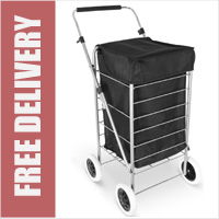 Denver Lightweight Classic 4 Wheel Shopping Trolley with Adjustable Handle Black
