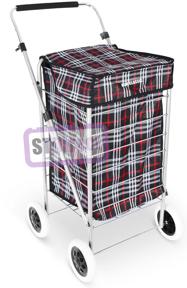 Denver Lightweight Classic 4 Wheel Shopping Trolley with Adjustable Handle Black Check