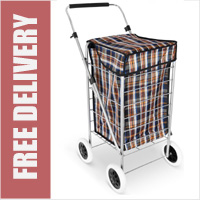 Denver Lightweight Classic 4 Wheel Shopping Trolley with Adjustable Handle Brown Check