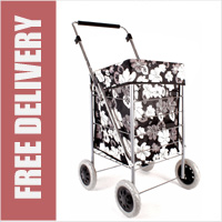 Dorchester Premium Small / Petite 4 Wheel Shopping Trolley with Adjustable Handle Black with Grey and White Floral Print