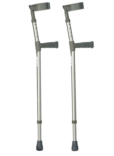 Extra Long Double Adjustable Aluminium Forearm Crutches (Sold as pair)