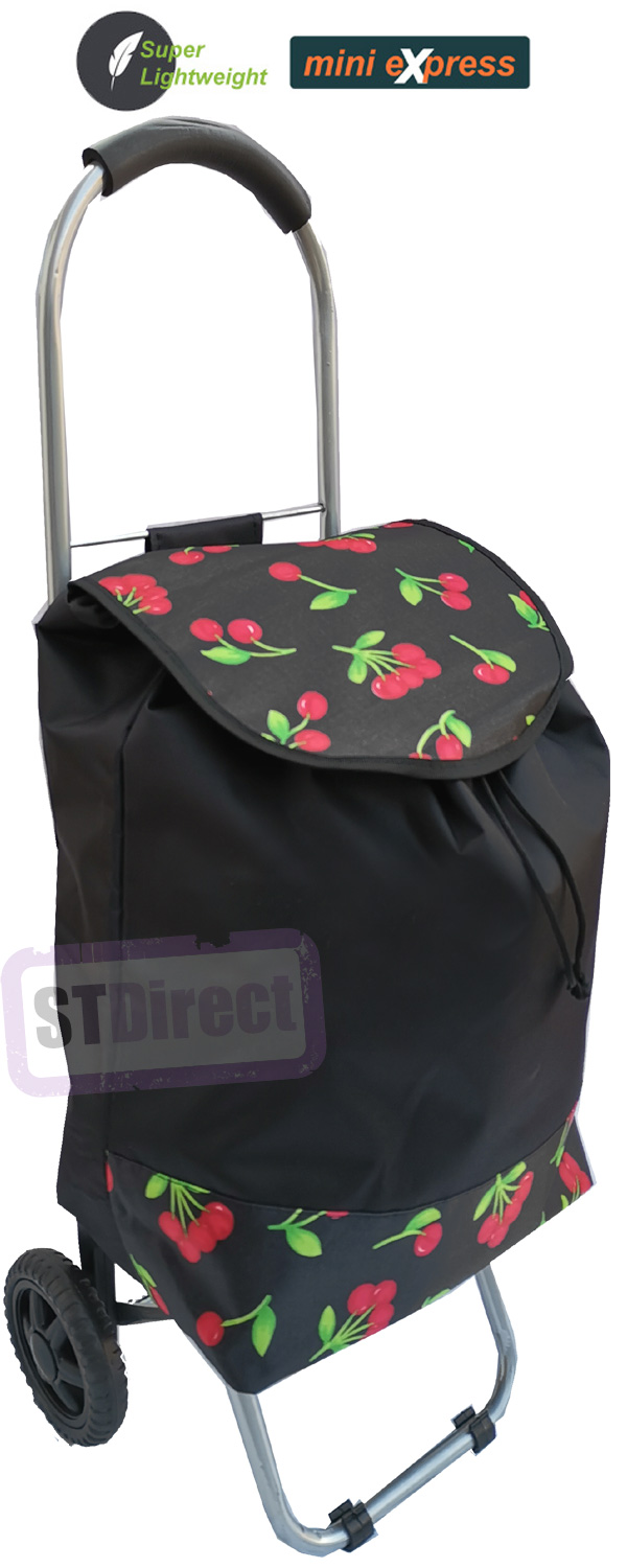 Mini Express Super Lightweight Small Petite 2 Wheel Shopping Trolley Cherries Print