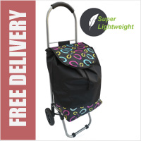 Mini Express Super Lightweight Small Petite 2 Wheel Shopping Trolley Fashion Swirls Print