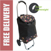 Mini Express Super Lightweight Small Petite 2 Wheel Shopping Trolley Owl Print