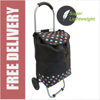 Mini Express Super Lightweight Small Petite 2 Wheel Shopping Trolley Spots Print