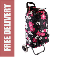 Deluxe Limited Edition Large 2 Wheel Shopping Trolley with Front Pocket Black with Pink and White Floral Print