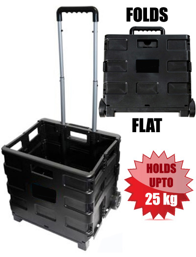 Folding Boot Cart / Crate Lightweight Strong Shopping Trolley on Wheels (25KG CAPACITY)
