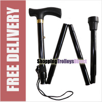 Folding Walking Stick Adjustable Height Travel Portable Secure Non Slip Lightweight Aluminium Metal Black