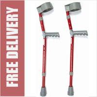 Child Aluminium Forearm Crutches - Red (Sold as pair)