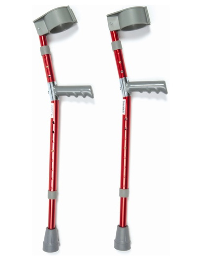 Child Aluminium Forearm Crutches Red Sold As Pair