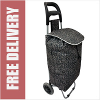 Limited Edition 2 Wheel Shopping Trolley Grey Leopard Print