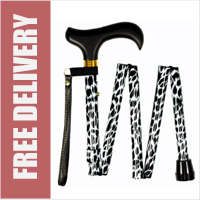 Handbag Size Mini Folding Walking Stick Zebra Print