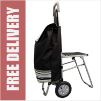 Highbury Collapsible 2 Wheel Shopping Trolley with Folding Seat Black