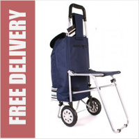Highbury Collapsible 2 Wheel Shopping Trolley with Folding Seat Navy