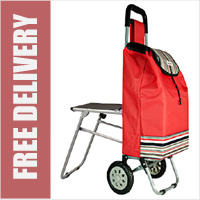 Highbury Collapsible 2 Wheel Shopping Trolley with Folding Seat Red