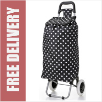 Hoppa Polka Dot Black/White 2 Wheel Folding Shopping Trolley