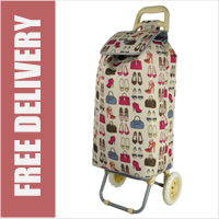 Hoppa Limited Edition 2 Wheel Shopping Trolley Beige with Handbags & Shoes Print