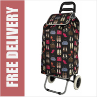 Hoppa Limited Edition 2 Wheel Shopping Trolley Black with Handbags & Shoes Print