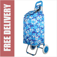 Hoppa Limited Edition 2 Wheel Shopping Trolley Blue Floral Print
