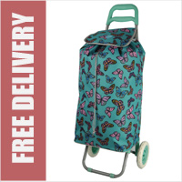 Hoppa Limited Edition 2 Wheel Shopping Trolley Mint with Multi Butterfly Print