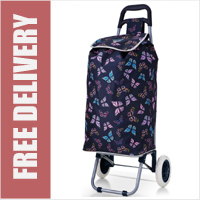 Hoppa Limited Edition 2 Wheel Shopping Trolley Navy with Multi Butterfly Print