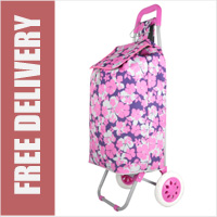 Hoppa Limited Edition 2 Wheel Shopping Trolley Pink Floral Print